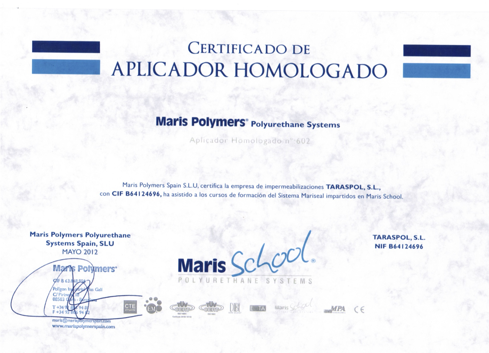 Certificado Maris School
